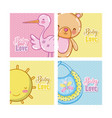 baby love cartoons cards vector image vector image