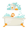 bathtub with soap bubbles in bathroom icon vector image