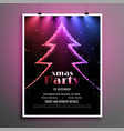 beautiful christmas party dark flyer lights vector image vector image
