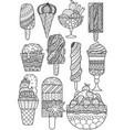 big set zendoodle design ice cream for design vector image