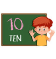boy showing number habd gesture vector image
