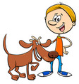 boy with funny dog cartoon vector image