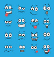 cartoon faces set vector image vector image