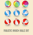 colorful beach balls set isolated vector image vector image
