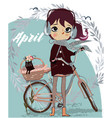 cute cartoon girl with bike and kitten vector image vector image