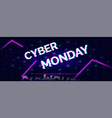 cyber monday sale glitch neon symbol on abstract vector image