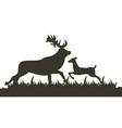 dark silhouette two deer running across lawn vector image vector image