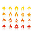 fire silhouette flame icons bonfire set vector image