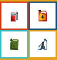 flat icon fuel set of petrol rig fuel canister vector image vector image