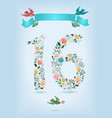 floral number sixteen with ribbon and birds vector image