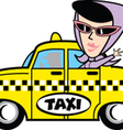 Girl in taxi vector image vector image