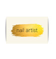Gold texture nail art buisness card vector image