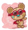 greeting card cute cartoon bear vector image vector image