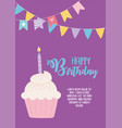 happy birthday sweet cupcake with candle and vector image