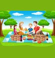happy family having a picnic vector image vector image