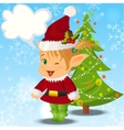 Happy Smiling Boy Christmas Santa s Elf vector image