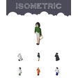 isometric people set of male detective girl and vector image vector image