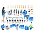 isometric set business character with gadgets vector image