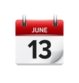 June 13 flat daily calendar icon Date vector image vector image