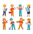 kids builders little boys and girls in builder vector image