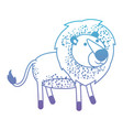lion cartoon in degraded blue to purple color vector image vector image