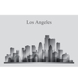 Los Angeles city skyline silhouette in grayscale vector image
