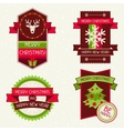 Merry Christmas banners ribbons and badges vector image vector image
