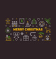 merry christmas linear horizontal vector image