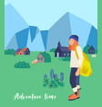 mountain hiking flat female vector image vector image