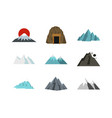 mountain icon set flat style vector image