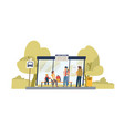 people waiting for bus at public transport stop vector image vector image