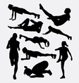 Pilates female and male sport silhouette vector image vector image
