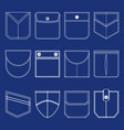 pocket thin line white icon set vector image vector image