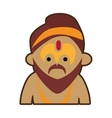 portrait cartoon man sadhu culture india vector image