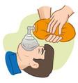 resuscitation cpr using manual respirator vector image vector image