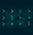 set futuristic hud blue arrows cyberpunk vector image vector image