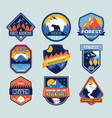 set of badges with mountain peaks and forest camp vector image vector image