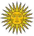 shining sun face heraldic symbol vector image