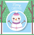 snowman with hat trees snow merry christmas tag vector image vector image