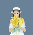 Sunflower rectangular portrait women