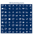 swimming pools icons set vector image