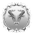 taurus zodiac sign with silver frame horoscope vector image vector image