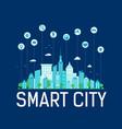 text smart city on dark background modern blue vector image