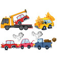 three isolated car crash scenes vector image
