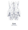 two hands top view care concept vector image vector image