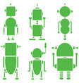 Vintage retro robots 2 set of 6B in green vector image vector image