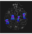 winter sale neon letters on christmas ball shiny vector image vector image