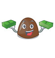 with money bag chocolate candies mascot cartoon vector image vector image
