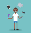 young black man juggling electronic devices vector image vector image