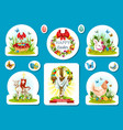 easter holiday sticker and label set design vector image